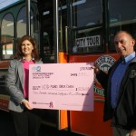Suzi Q from UCSD Moores Cancer Center with Old Town Trolley Tours of San Diego General Manager David Thornton.