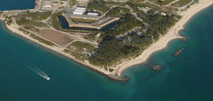 An aerial picture of modern Fort Zachary Taylor.