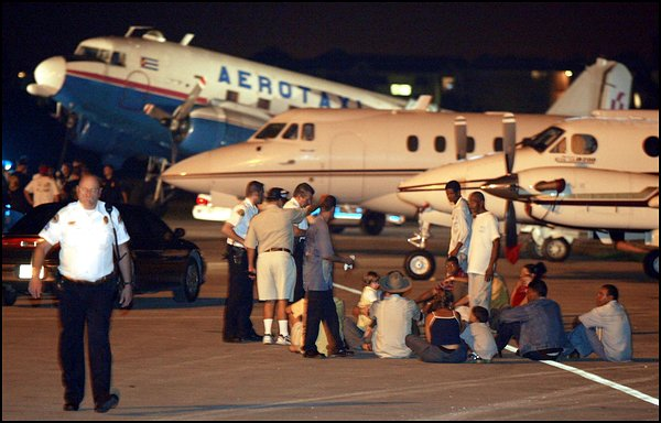 A picture capturing the landing of Cuban refugees into Key West's airport