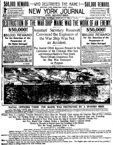A New York newspaper describing the destruction of the Maine.