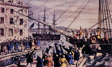 Currier's Portrayal of the Boston Tea Party