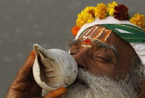 The Conch shell being used in Hindu religious ceremonies.