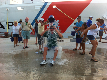 Andy Kirby being dumped with ice water during the ALS Ice Bucket Challenge.
