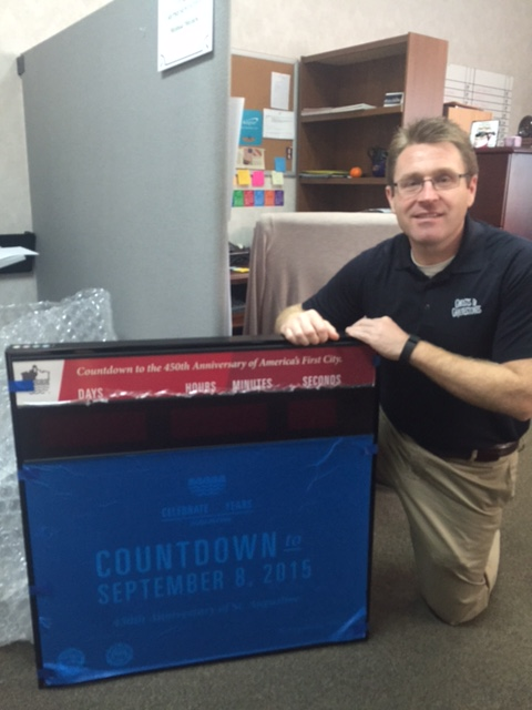 General Manager David Chatterton with the countdown clock.