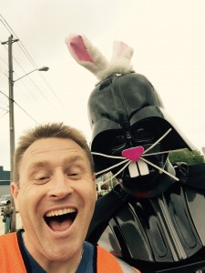 """Old Town Trolley Tours of St. Augustine GM, Dave Chatterton, and Darth """"Bunny"""" Vader"""